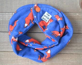 Infinity Scarf Bib-Blue and Orange Foxes