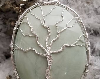 Tree of Life in Sterling Silver Wire over Natural Stone Pendant.  Free Shipping.