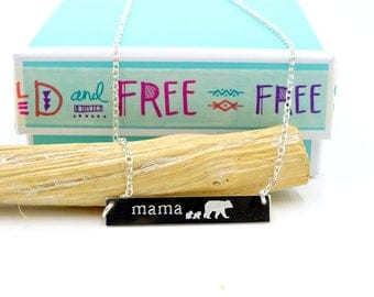Mama bear bar necklace mama bear necklace mama bear jewelry, Mama bear and cubs sterling silver or gold, Gift for mothers day, gift for mom