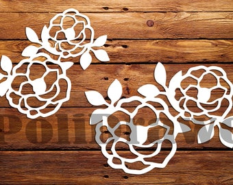 Rose pattern, Roses for carving, cutting template Instal Download Dies cutting Silhouette Cameo ETSYPoliDrawe