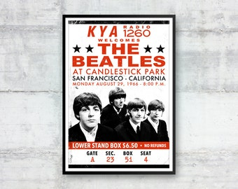 The Beatles, The Beatles Ticket Stub Poster, The Beatles Poster, Beatles Tickets, Retro Print, Pop Art Print