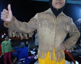 Vintage earlier 1950's Chip's n Twigs Fringed leather jacket