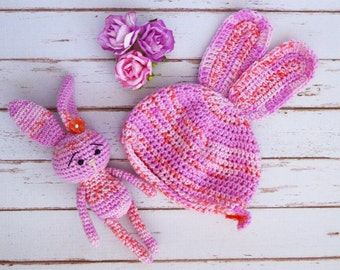 Doll Bunny hat and toy amigurumi Set Beanie Bunny for dolls crochet  hat for 18 inch dolls 18 inch doll wig doll Accessories Doll Clothes