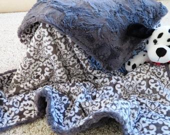 Minky Baby Blanket, Personalized Baby Boy Blanket,  Gray Damask Baby Boy Blanket, Baby Gift, Baby Shower Gift, Minky Baby Blankets