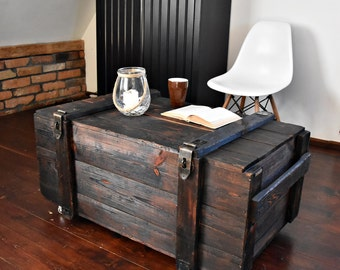 Vintage Antique Old big Army military Chest Trunk Box coffee table industrial black cottage chic loft  Nordic wenge