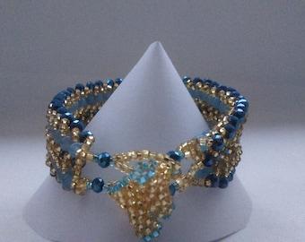Blue Double Flat Spiral Bracelet