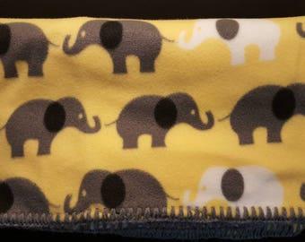 Double Layer Elephant Fleece Blanket with Crocheted Edging