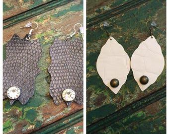 vegan leather rivet earrings - choice of 2 styles