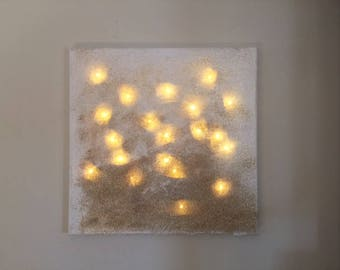 12x12 Lighted Wind Swept Gold Glitter Home Decor Sign