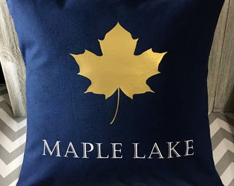 Lake pillow, Personalized pillow, Throw pillow cover, Maple leaf pillow, Trending