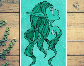 Night Elf Print - Ink Illustration