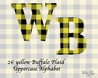 Yellow Buffalo Plaid Uppercase Alphabet - Clip Art - 26 Letters - PNG Files - Yellow Buffalo Plaid Alphabet Letters - Instant Download