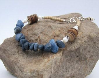 Blue Quartzite Chip, Shell, Glass & Sterling Silver Adjustable Bracelet