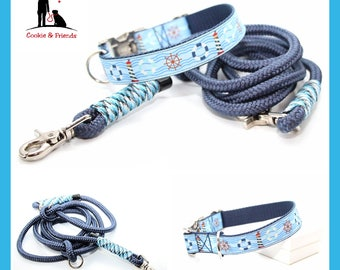 "Set: dog collar ""Day at the beach"" with matching Tauleine"