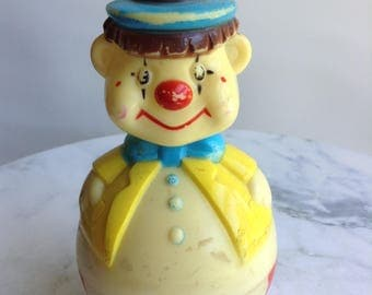 Vintage Clown Rolly Rattle Baby Toy