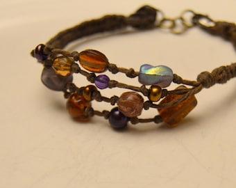Earthy Boho String-and-Bead Bracelet