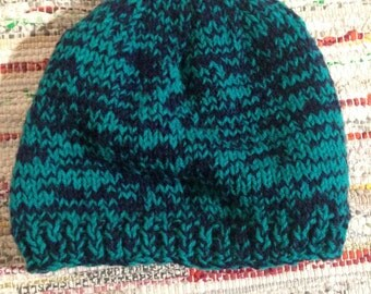 Green and Navy Hand Knitted Beanie Hat