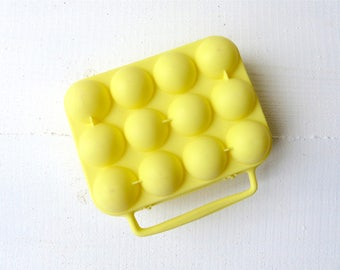 Vintage French egg lemon yellow plastic box