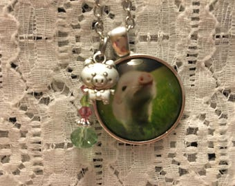 Baby Pig Charm Necklace/Little Pig Charm Necklace/Pig Jewelry/Piglet Jewelry/Pig Necklace/Baby Pig Necklace