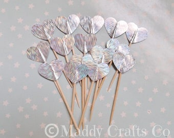 Silver Heart Cupcake Topper Embellishment Picks Party Decorations Paper Craft Supplies x 15