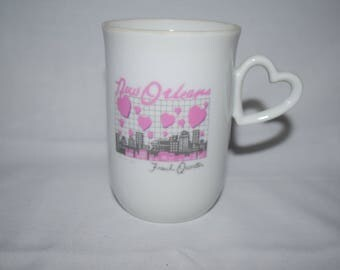 Louisiana New orleans french quarter 1983 Pink and white Heart coffee mug