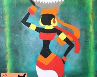 """Original Art Painting Acrylic on Canvas Woman """"African Beauty"""" Red Green Black, Christmas Gift, Housewarming Gift, Birthday Gift"""