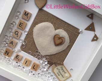 Engagement hessian box frame, photo frame, celebration, wedding gift, scrabble frame, personalised gift