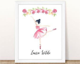 PRINTABLE Watercolor Ballerina, Girl Nursery Art, Ballet Nursery Art Print, Floral Dance Ballet Print, Floral Printable Wall Art Pink Floral