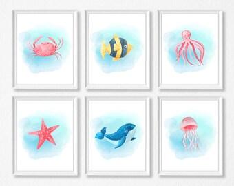 PRINTABLE Sea Animal Art Set, Sea Animal Nursery Prints, Crab, Fish, Starfish, Jellyfish, Octopus, Whale, Marine Nursery, Ocean Nursery Set