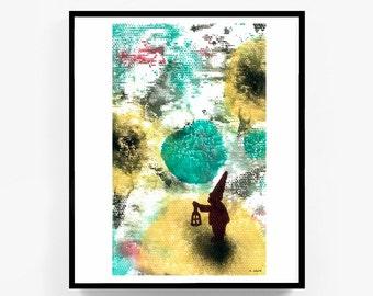 Printable Original Watercolor Artwork, Digital Print, Abstract Wall Art, Garden Gnome Painting, Gnome Decor, Digital Download