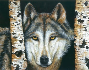 Wolf Painting / Wolf Art /  / Wildlife Painting / Original Painting / Wildlife Art / Wildlife Painting / 11 x 14