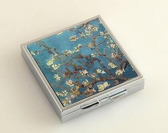 Van Gogh Blossoming Almond Tree Square Pill Box  ,Pill Case, Pill Box,Pill Container, Mint Case, Medicine Organiser PB-S-0003