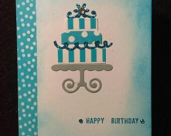 Handmade blank birthday card with envelope