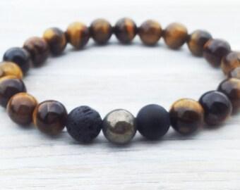 Gemstone round Bead Bracelet Wrist Mala Mens Bracelet Gifts For Him Fathers Day Gifts Pyrite Black Lava Onyx Tiger Eye Bracelet Mens Gifts