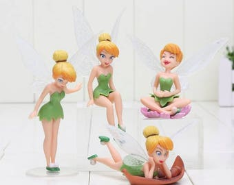 Tinkerbell figures Tinker bell cake topper 4 piece fairy garden decor terrarium tinkerbell birthday figures