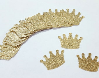 25 pcs Gold Glitter CROWNS Confetti / Princess Party Decorations / 1st Birthday Party Decor / Little Prince Decor / Baby Shower Decorations