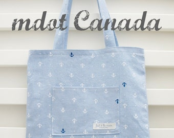 tote bag, library bag, lesson bag, shoulder bag, anchor pattern