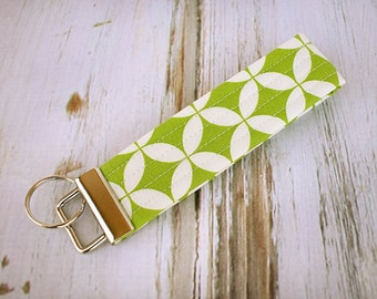 Quilted Fabric Key Fob, Key Chain, Key Holder -  Retro Lime