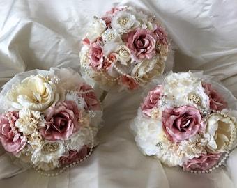 wedding bouquets,Shabby Chic, Vintage ,brooches, Pink, ivory, Brides, Bridesmaids, Flowergirls etc