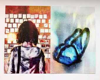 Life is strange | max caulfield polaroid  & blue rewind butterfly effect Butterfly fanart collectors painting | Artprint bundle