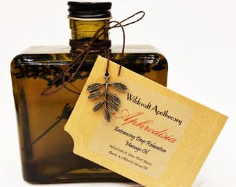 Aphrodesia Entrancing Deep Relaxation Organic St. John's Wort and Quartz Infused Massage Oil- Wildcraft Apothecary