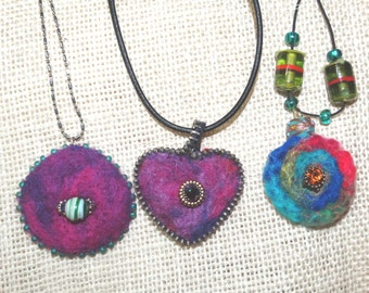 Felted Pendant Necklaces