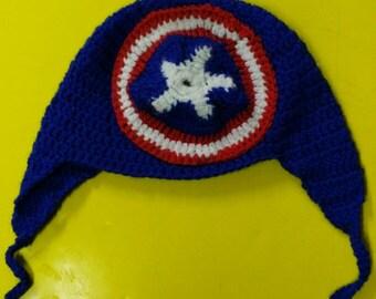 hat with earflaps for child of Captain America / cappello con paraorecchie per bimbo di Capitan america