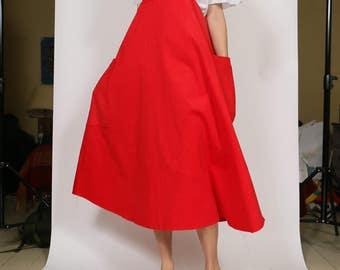 Scarlet Needlecord Apron Dress *SOLD