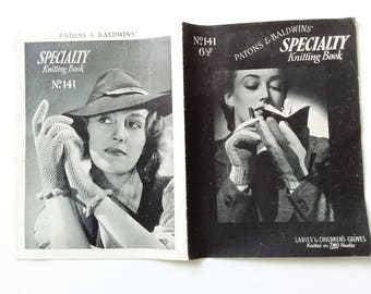 Vintage 1940s knitting pattern book for GLOVES / Patons & Baldwins' Specialty Knitting Book No 141