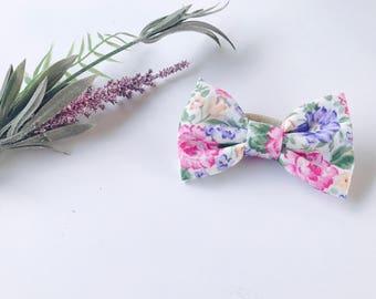 Baby Girl Hair bows   Bow Headband   Baby Bows   Nylon Headbands - clips - toddler / Infant bows   Fabric bow headband - petal blossom