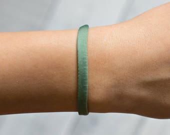 Green Bracelet, Fabric Bracelet, Green Bracelet For A Cause, Green Jewelry, Stretch Bracelet, Everyday Bracelet, Green Stretch Bracelet