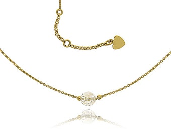 Crew neck collar chain very fine Swarovski Crystal faceted bead