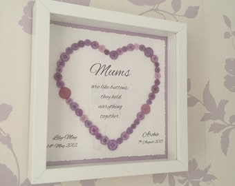 Mums are like buttons frame, mum quote, personalised mum gift, personalised gift for mum, mothers' day gift