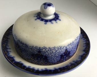 Persian Moss Flow Blue Covered Butter Dish~ Gold Trim~c. 1890's~Germany